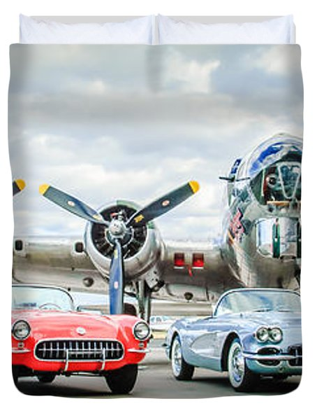 Corvettes With B17 Bomber Duvet Cover
