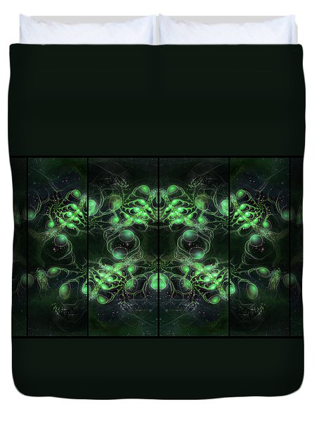 Cosmic Alien Eyes Green Duvet Cover by Shawn Dall