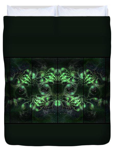 Cosmic Alien Eyes Green Duvet Cover