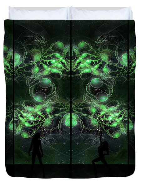 Cosmic Alien Vixens Green Duvet Cover by Shawn Dall