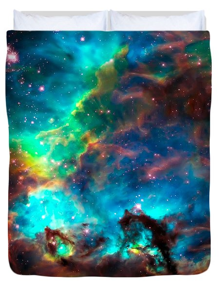 Cosmic Cradle 2 Star Cluster Ngc 2074 Duvet Cover by Jennifer Rondinelli Reilly - Fine Art Photography