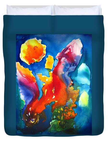 Cosmic Fire Abstract  Duvet Cover by Carlin Blahnik