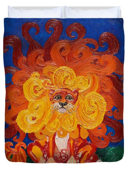 Duvet Cover featuring the painting Cosmic Lion by Cassandra Buckley