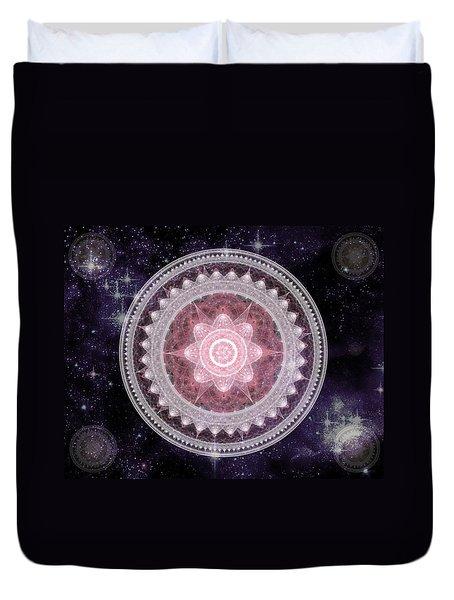 Cosmic Medallions Fire Duvet Cover