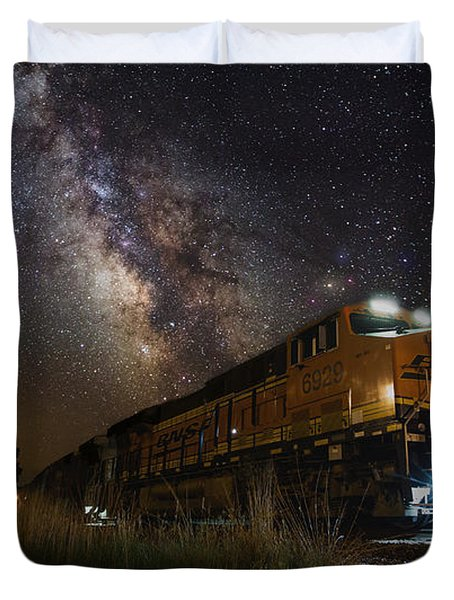 Cosmic Railroad Duvet Cover