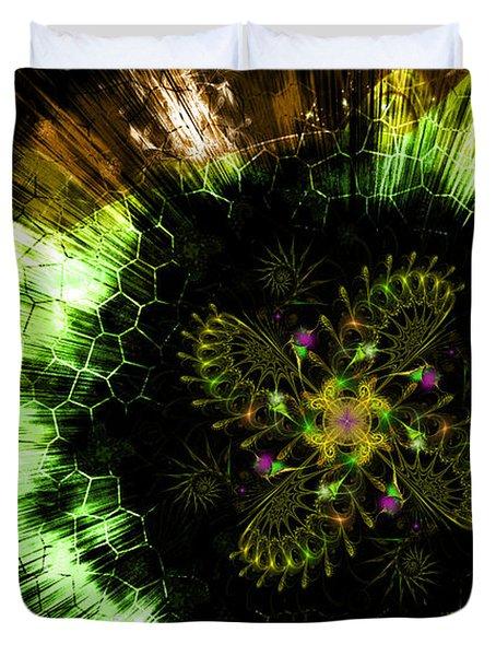 Cosmic Solar Flower Fern Flare Duvet Cover