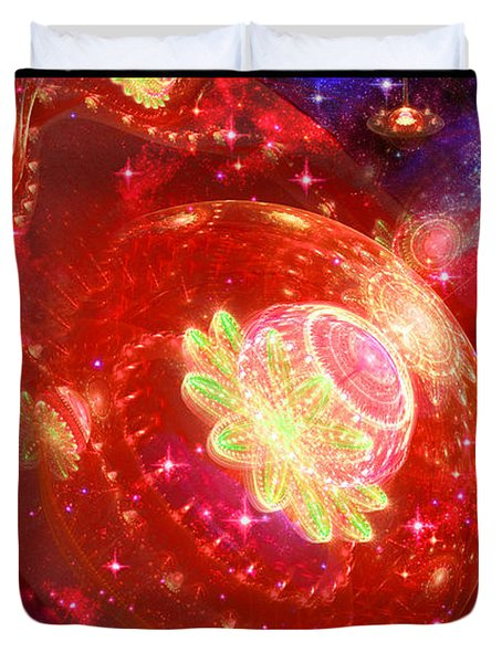 Duvet Cover featuring the digital art Cosmic Space Station by Shawn Dall