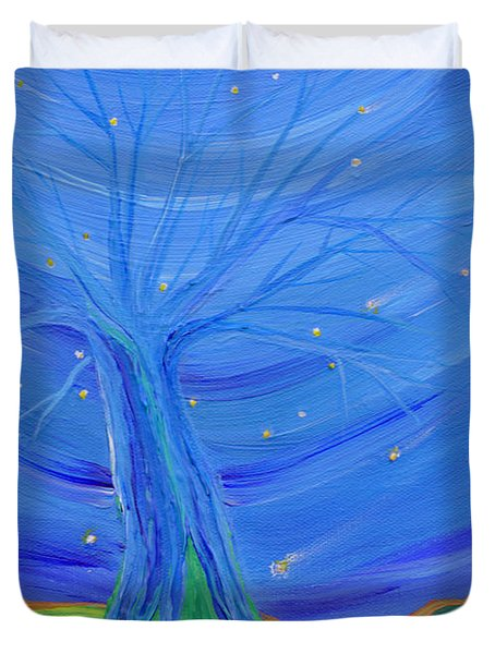 Duvet Cover featuring the painting Cosmic Tree by First Star Art