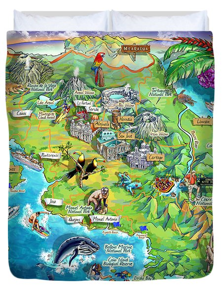 Costa Rica Map Illustration Duvet Cover