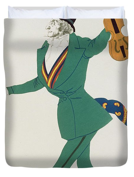Costume Design For Paganini In The Enchanted Night Duvet Cover by Leon Bakst