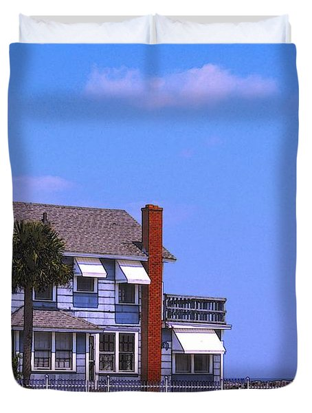 Duvet Cover featuring the photograph Cottage Blue by Laura Ragland