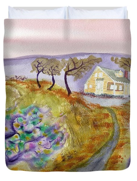 Cottage By The Purple Trees Duvet Cover