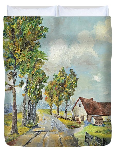 Duvet Cover featuring the painting Cottage On Poplar Lane by Mary Ellen Anderson