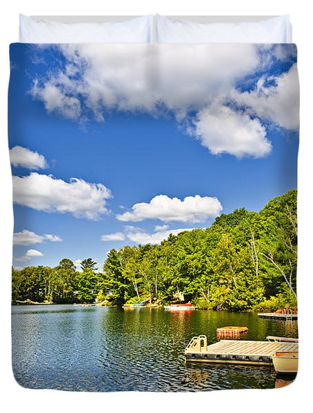 Cottages On Lake With Docks Duvet Cover