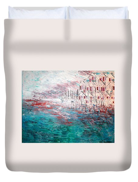 Cottages On The Bay  Duvet Cover