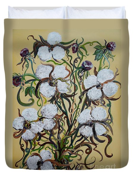 Duvet Cover featuring the painting Cotton #2 - Cotton Bolls by Eloise Schneider
