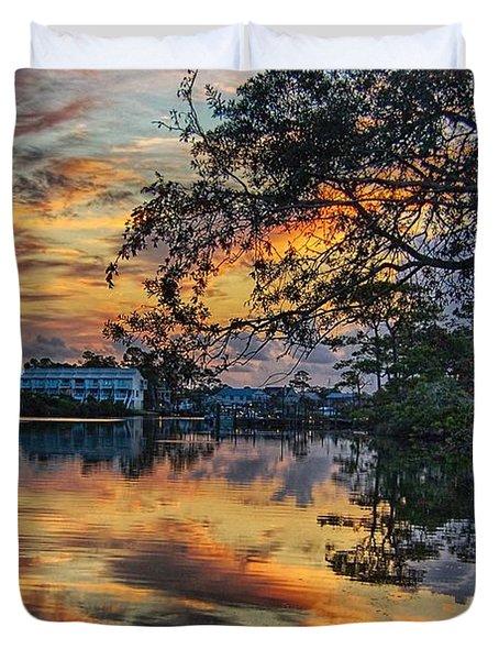 Duvet Cover featuring the digital art Cotton Bayou Sunrise by Michael Thomas
