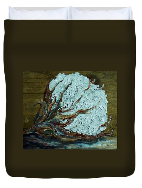 Cotton Boll On Wood Duvet Cover