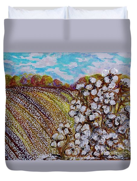 Cotton Fields In Autumn Duvet Cover by Eloise Schneider