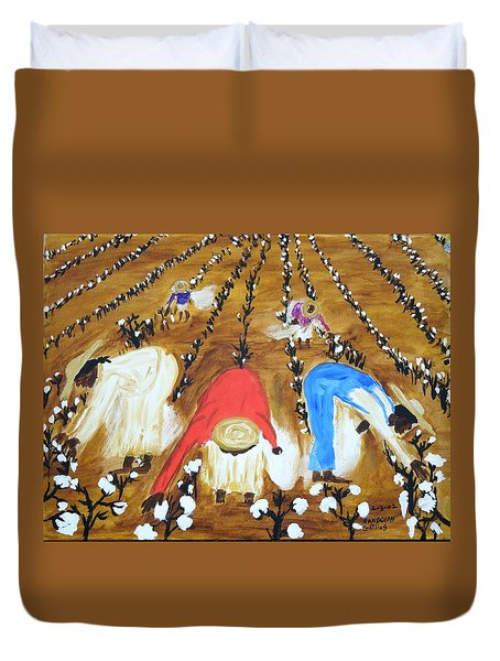 Cotton Picking People Duvet Cover