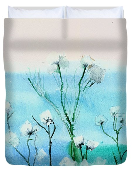 Cotton Poppies Duvet Cover by Anil Nene