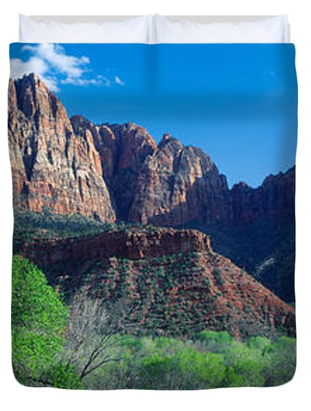 Cottonwood Trees And The Watchman, Zion Duvet Cover by Panoramic Images