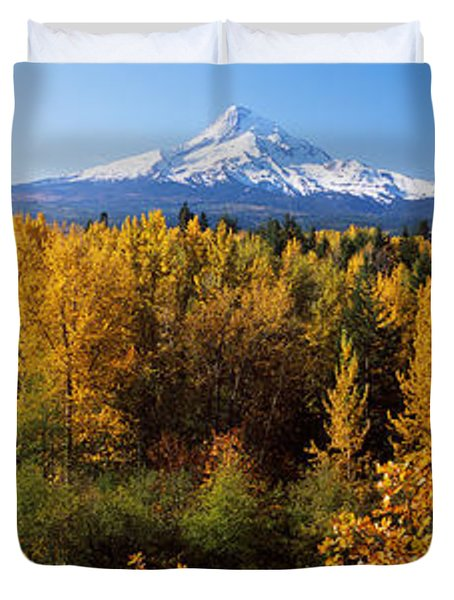 Cottonwood Trees In A Forest, Mt Hood Duvet Cover