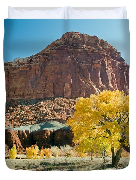 Cottonwoods In Fall The Castlecapitol Reef National Park Duvet Cover