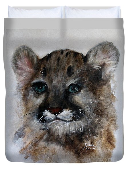 Duvet Cover featuring the painting Antares - Cougar Cub by Barbie Batson