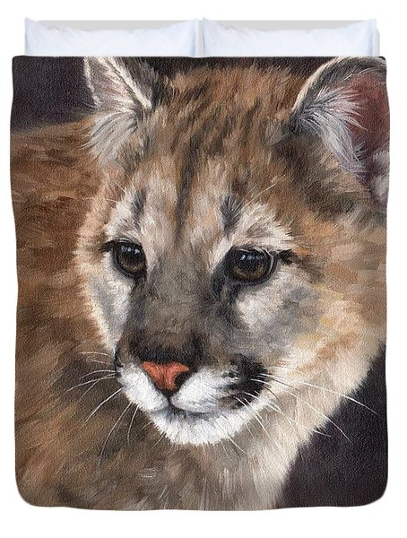 Cougar Cub Painting Duvet Cover