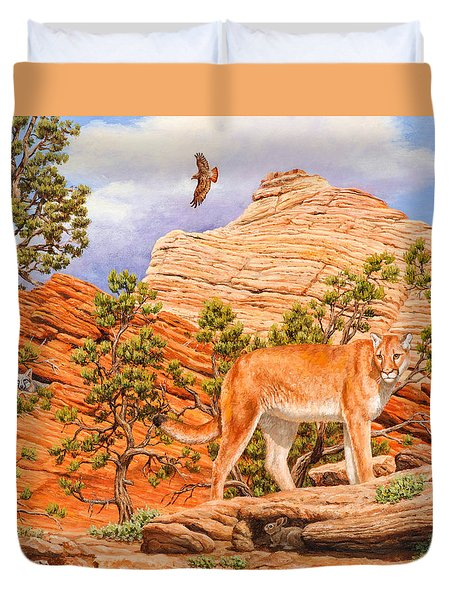 Cougar - Don't Move Duvet Cover by Crista Forest
