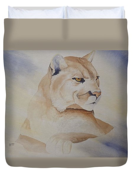 Duvet Cover featuring the painting Cougar On Watch by Richard Faulkner