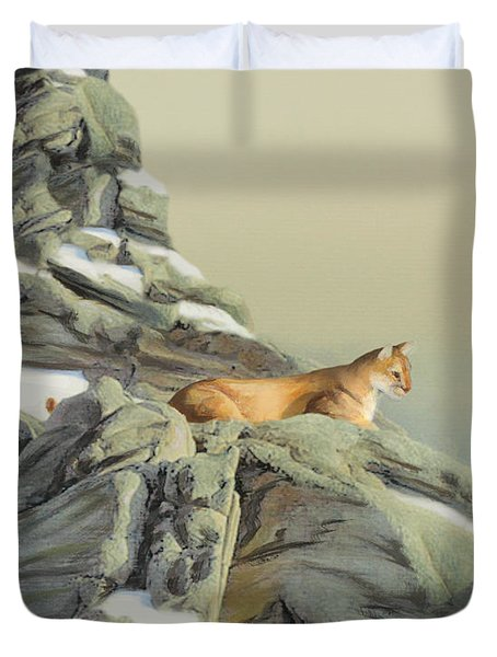 Duvet Cover featuring the painting Cougar Perch by Jane Girardot