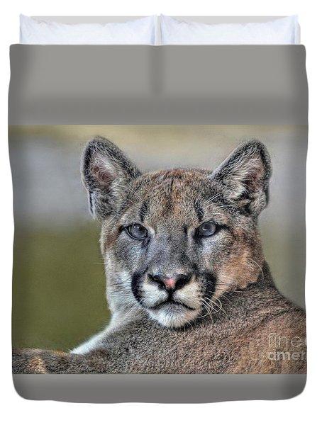 Duvet Cover featuring the photograph Cougar  by Savannah Gibbs
