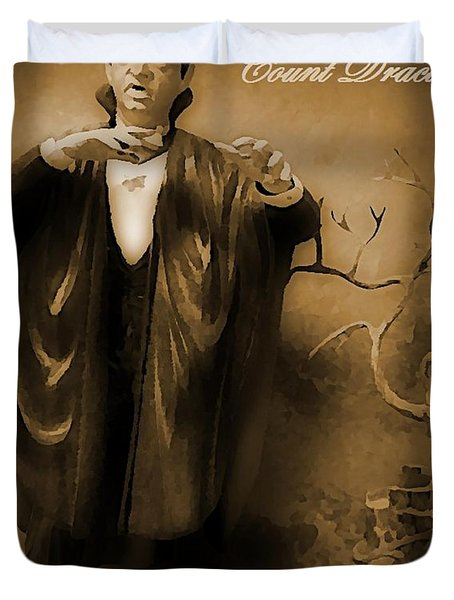 Count Dracula In Sepia Duvet Cover by John Malone