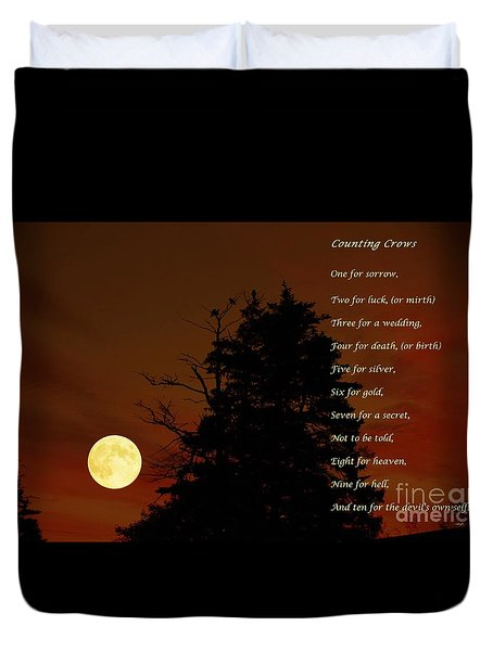 Counting Crows - Old Superstitious Nursery Rhyme Duvet Cover by Barbara Griffin