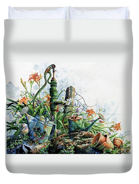Duvet Cover featuring the painting Country Charm by Hanne Lore Koehler