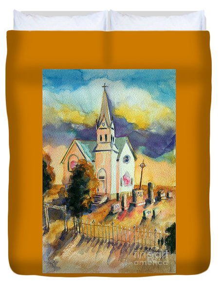 Duvet Cover featuring the painting Country Church At Sunset by Kathy Braud