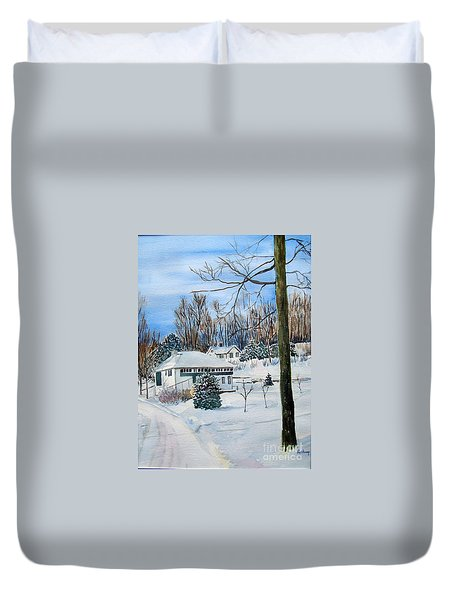 Country Club In Winter Duvet Cover