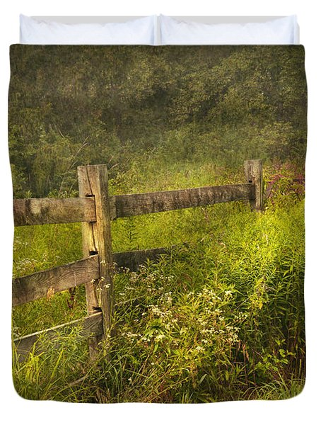 Country - Fence - County Border  Duvet Cover by Mike Savad