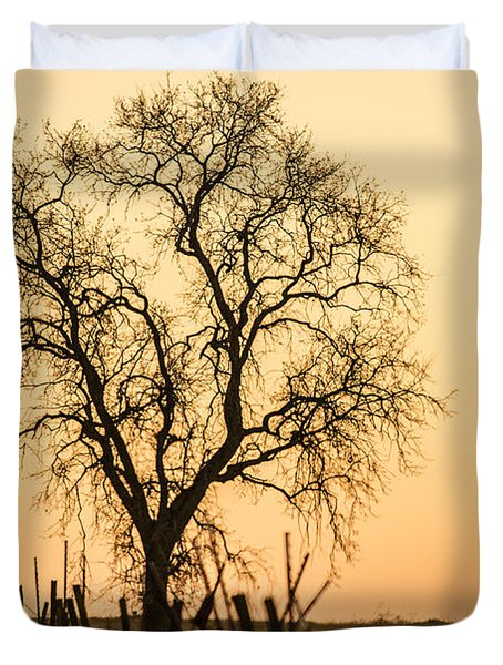 Country Fence Sunset Duvet Cover