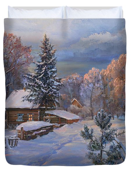 Country House In Winter Duvet Cover