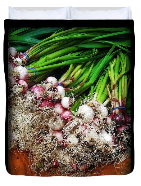 Country Kitchen - Onions Duvet Cover by Miriam Danar