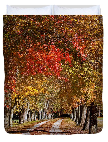 Duvet Cover featuring the photograph Country Lane In Autumn by Jerry Gammon