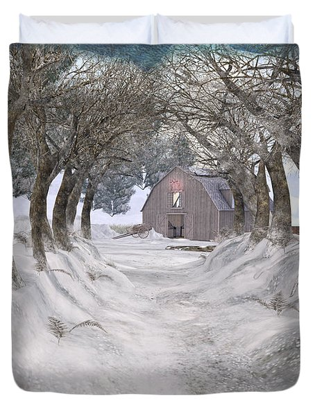 Country Lane In Winter Duvet Cover