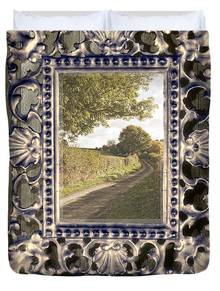 Country Lane Reflected In Mirror Duvet Cover by Amanda Elwell