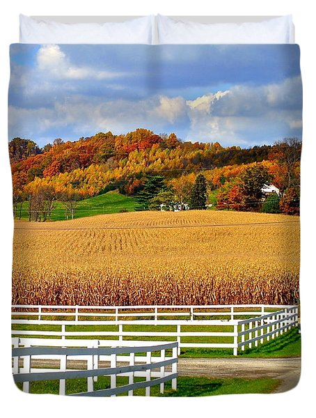 Country Lane Duvet Cover by Frozen in Time Fine Art Photography