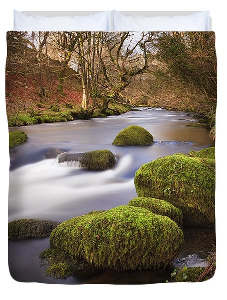 Country River Scene Wales Duvet Cover by Pearl Bucknall