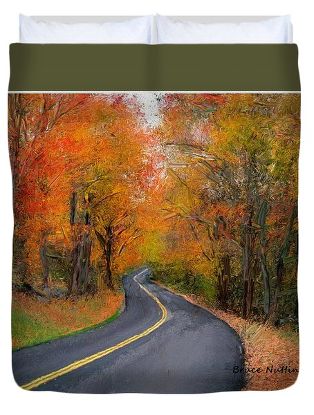 Duvet Cover featuring the painting Country Road In Autumn by Bruce Nutting