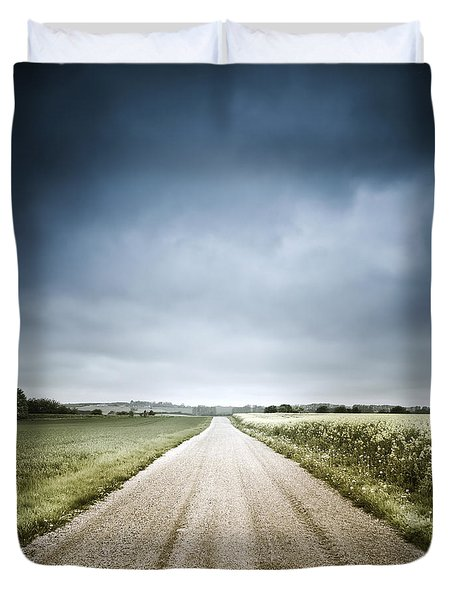 Country Road Through Fields, Denmark Duvet Cover by Evgeny Kuklev